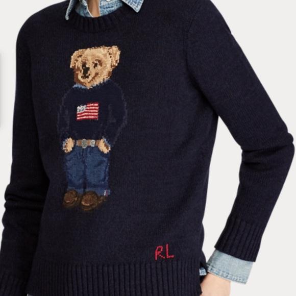 Ralph Lauren Navy Blue Cotton Crew Neck Childrens Teddy Bear Sweater NWT
